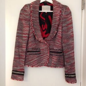 Rachel Roy Size 2 Red Black White Tweed Jacket